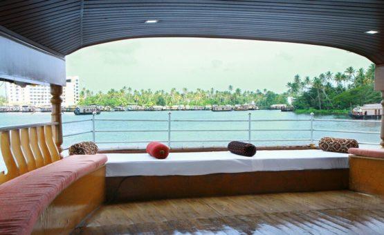 Upper deck area in alleppey houseboat